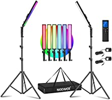 Neewer 2-Pack RGB LED Light Stick Kit, 21W Dimmable 3200K~5600K Bi-Color Handheld Light with 2.4G Remote/360° Full...