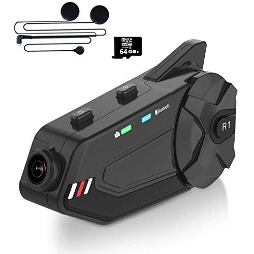 GaoF Auriculares Bluetooth para Motocicleta, Intercomunicador para Casco, Sistema de comunicación, con cámara 1080P Radio FM Micrófono 1000M 6Riders, Trigo Suave