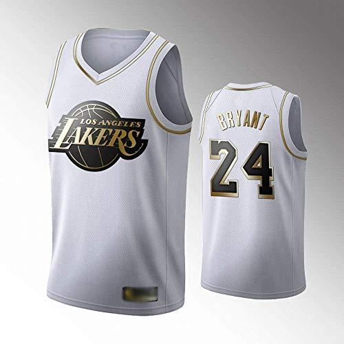 WEIZI Camiseta de Baloncesto para Hombre, NBA, Los Angeles Lakers #24 Kobe Bryant. Bordado Swingman Transpirable y Resistente al Desgaste Camiseta para Fan,D,XL