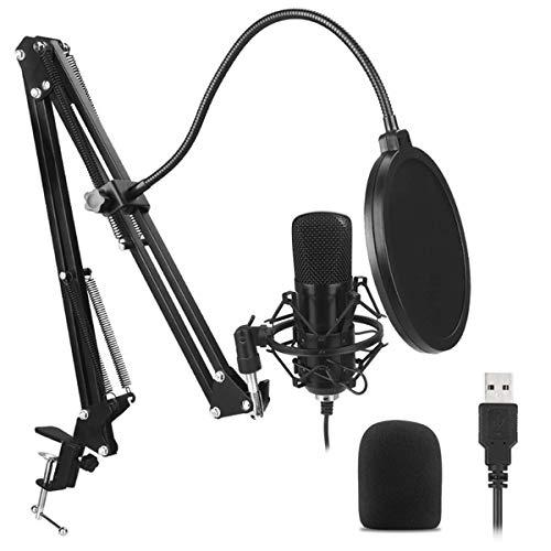 DaMohony USB-microfoon voor pc, plug-n-play geluidsopname condensator microfoon met filterbevestiging beugel voor live uitzendnetwerk Platte kop