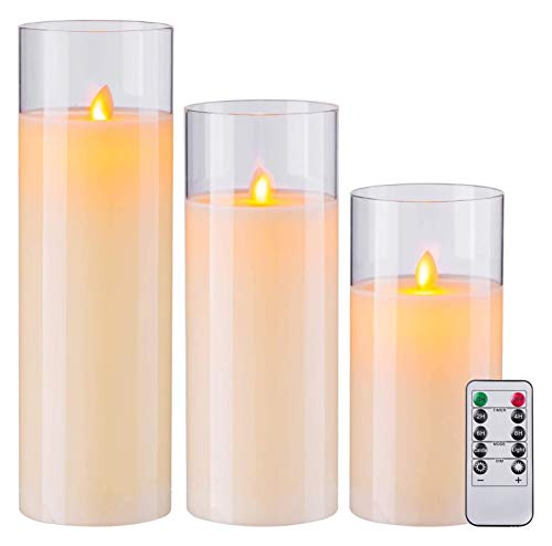 AMZSELLER LED Candles Flameless Candles Pillar Real Wax LED Glass Candle Sets With Battery Operated Remote Control Jar Candles (Size : 3H8 10' 12')