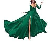 YAXINHE 女性の柔らかいエレガントなカクテルイブニングスキニーソリッドロングドレス Green XS