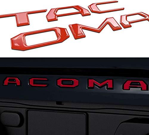 Letras de inserción para portón trasero compatibles con Tacoma 2016-2020 3D elevadas y fuertes adhesivos Letras, emblema de portón trasero, letras (rojo)
