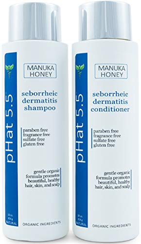 Sulfate Free Shampoo and Conditioner Set for Seborrheic Dermatitis Relief - Severe Dry & Itchy Scalp Treatment with Manuka Honey, Aloe Vera & Coconut Oil - Safe for Color Treated Hair (16 oz)