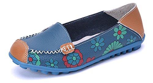 Femmes Mocassins Cuir Bateau Chaussures Plates Loafers Casual Confort Chaussures de Conduite de Ville Sandales,A Bleu,39 EU