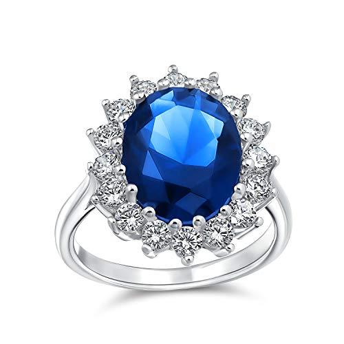 4CT Royal Blu Ovale Cubic Zirconia Zaffiro Simulato CZ Crown Halo Impegno per Donne Promessa Ring Sterling Argento