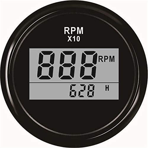 LIXUDECO Indicador de tacómetro 2 '' (52 mm) Barco LED Digital tacómetro del Motor Fuera de borda Contador horario 0-9990RPM Marina del Coche camión de RV RPM Impermeable Medidor (Color : BN)