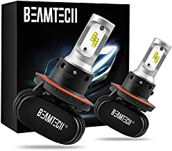 BEAMTECH H13 LED Bulb, Quiet No Fan CSP Chips Conversion Kit Fanless Cool White All In One Plug N Play Halogen Replacement