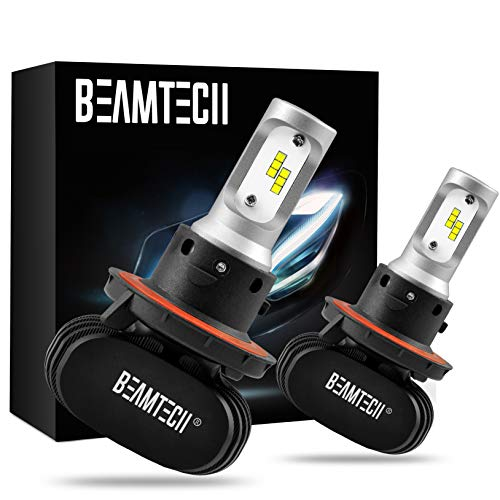 BEAMTECH H13 LED Bulb, 50W 6500K 8000Lumens Extremely Brigh (9008 Hi/Lo) CSP Chips Conversion Kit Fanless All In One Plug N Play Low Fog Light