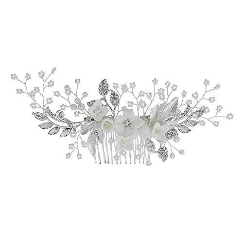 YOLANDE Handgemacht Keramik Blumen Haarkamm Braut Kristall Hochzeit Haarschmuck Vintage Haarschmuck Deko