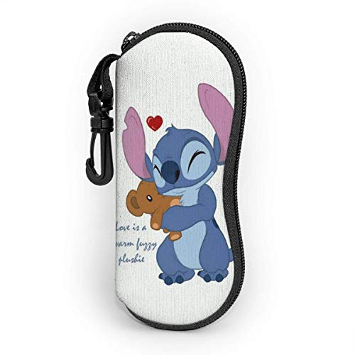 Stitch and Bear Doll Eyeglass Case, Portable Travel Zipper Sunglasses Case Glasses Bag Guard Set