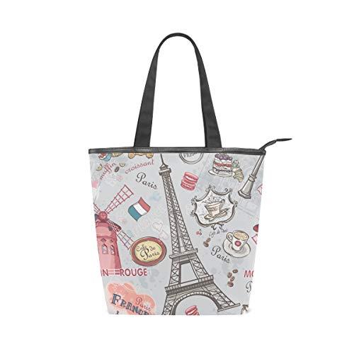 Jeansame Canvas Bag Tote Bag Einkaufstasche Top Griff Taschen Schulter Handtasche Eiffelturm Paris Blumen Französisch Vintage