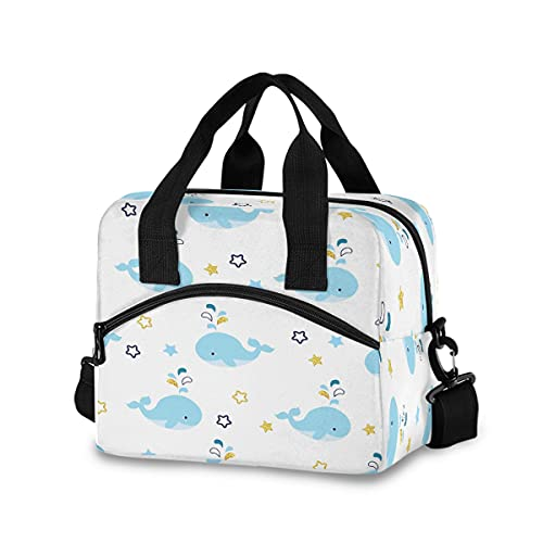 ECHOBU - Bolsa de almuerzo con diseño de ballena y animales, aislada con estrellas