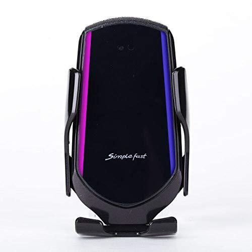 Sujetador automático 10W Cargador inalámbrico Cargador de automóvil Sensor infrarrojo Inteligente Sensor de Aire Montaje de ventilación móvil Soporte de Soporte (Color : Black)