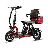 Scooter Eléctrico de 3 Ruedas plegable para Personas ancianos adultos Mayores Minusvalido discapacitados, Ligera Scooter Silla de ruedas eléctrica Patinete triciclo Portátil para Viaje exterior