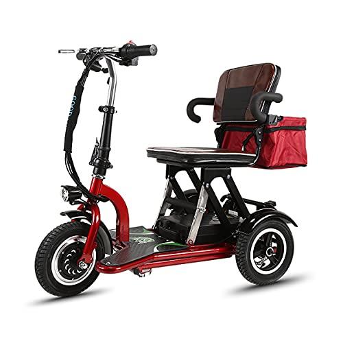 ACwhisper Scooter Eléctrico de 3 Ruedas plegable para Personas ancianos adultos Mayores Minusvalido discapacitados, Ligera Scooter Silla de ruedas eléctrica Patinete triciclo Portátil para Viaje exter