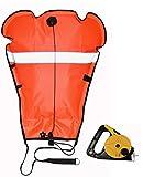 DiveSafe Lift Bag with Thumb Reel, Reflective Band and Strobe Light Holder (Orange, 70)