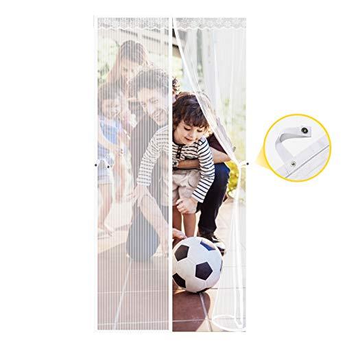 Cortina Mosquitera Magnética para Puertas, 90 x 210CM Mosquitera Magnética, Cortina de Protección contra Insectos para la Puerta del Balcón de la Sala de Estar, Fácil de Instalar Adecuado - Blanco