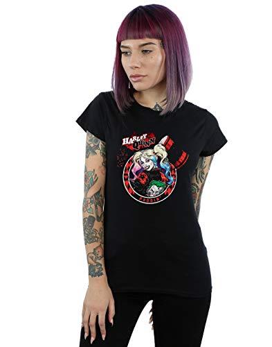 DC Comics Femme Harley Quinn Joker Patch T-Shirt Noir XX-Large
