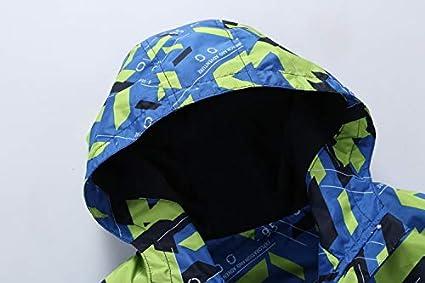 Shangrui Jungen Gef/ütterte Regenjacke Gemusterte Wasserdicht Winddicht Windjacke Regenmantel mit Kapuze