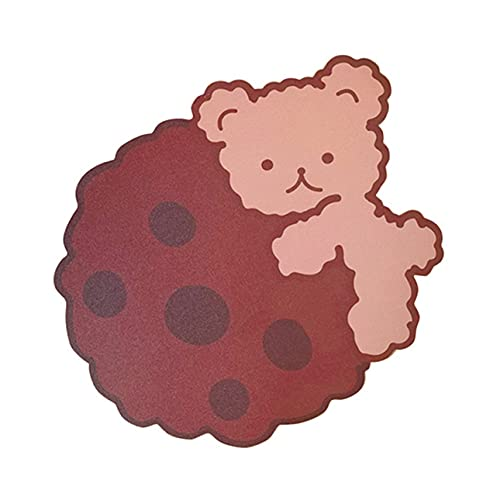 Totkakka Alfombrilla de ratón Antideslizante Alfombrilla de ratón de Goma Alfombrilla de ratón Irregular para Ordenador portátil Teclado Biscuit Bear