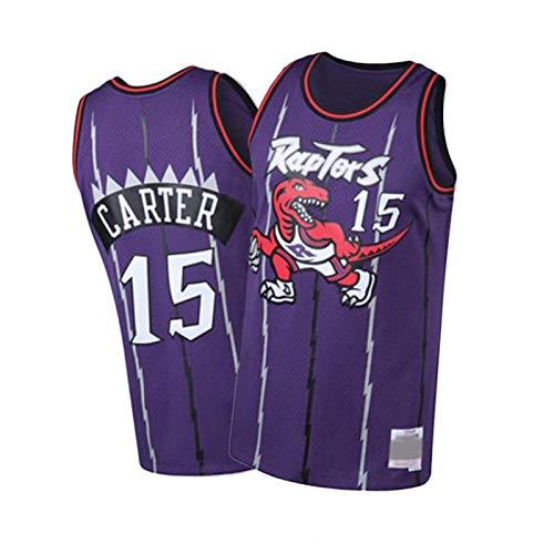 Camiseta de baloncesto 15 # Carter bordado, camiseta sin mangas, camiseta holgada deportiva casual, transpirable y cómoda morada, M