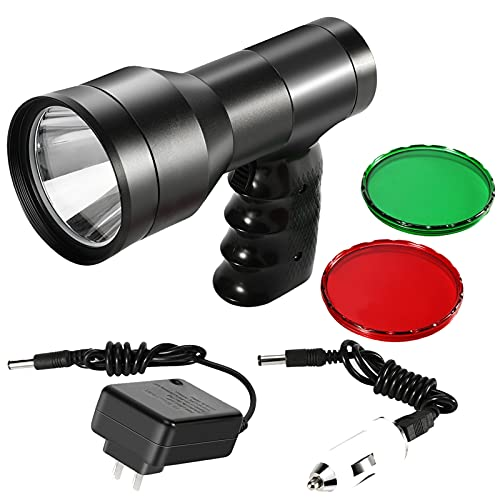 GearOZ Hunting Spotlight Flashlight, Rechargeable Handheld Hunting Scan Light 1000LM LED White Light Red Dot Sight for Aiming Target Red Green Filter for Scanning Coyotes Predators Coons Varmints Hogs