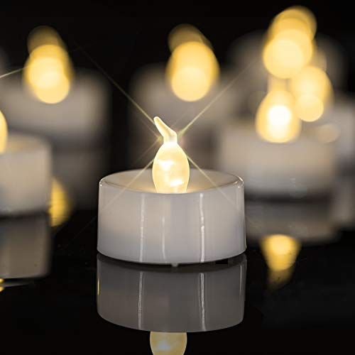 Homemory LED Candles, Lasts 2X Longer, Realistic Tea Lights Candles, LED Tea Lights, Flickering Bright Tealights, Battery Operated Powered, Flameless Candles, White Base, Batteries Included, Set of 24