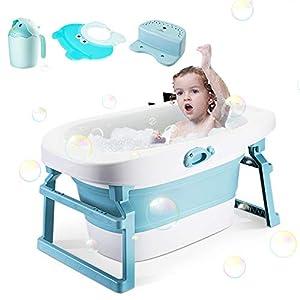 Bañera de bebé plegable Bañera portátil para bebés y niños pequeños para niños de 0 a 12 años Antideslizante Plegable Soporte de baño de lavabo para recién nacidos con taza de enjuague Gorro de ducha