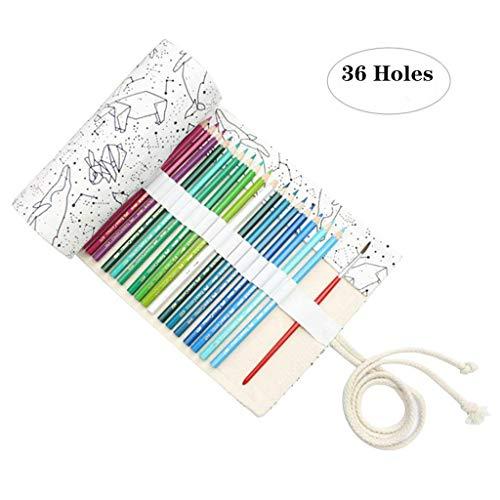Leinwand Stifterolle Pencil Wrap Roll up Holder Tasche Federmappe(36 Loch)
