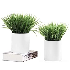 MyGift 6.5 Inch Artificial Grass in White Ceramic Planters, Set of 2