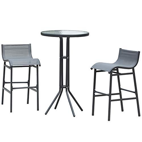 Outsunny Garten Bartisch Set, 3-TLG. Barset, Gartenmöbel-Set, Sitzgruppe, Metall, Grau, Ø60 x H102 cm