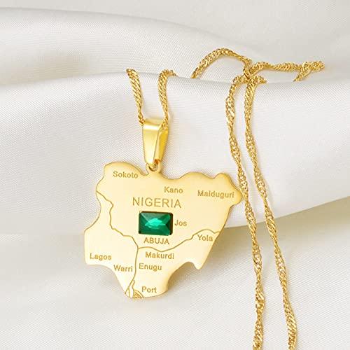 Nigeria Grün Stein Karte Anhänger Anhänger Halsketten - Ethnische Patriotische Afrika Karten Flagge Halsketten, Gold Farbe Klassische Hip Hop Schmuck Für Frauen Männer Trend Party Geschenk, Gol