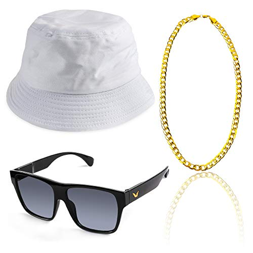 Beelittle 3pcs 80er / 90er Jahre Hip Hop Kostüm Kit Old Style Coole Rapper Outfits - Bucket Hat übergroße Schwarze Sonnenbrille Gold Plated Chain (D)