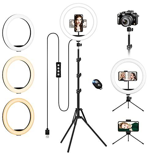 """Luce Led Anulare con Stativo Treppiede,12"""" LED Ring Light Dimmerabile Selfie Light Kit con 3 Modalità Colore e 10 Luminosità, supporto telefonico, Alimentazione USB per Makeup/Video/Streaming"""