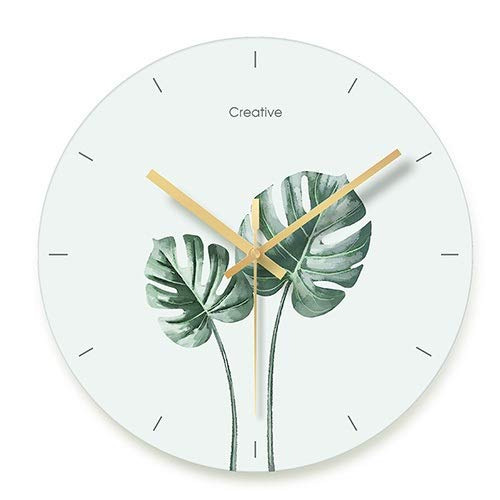 Zcm Wanduhr Fresko Foglie Verdi Mute squisita orologio da parete Nordic pianta Verde moderno Stile Europeo soggiorno Kamera orologio da parete (Color : B, Sheet Size : 12 INCH)