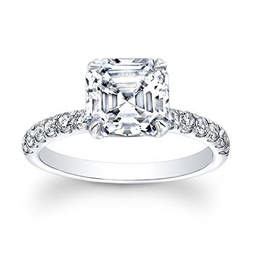 Women's Royal Asscher Cut 3 carat White Sapphire engagement ring 0.33 G-VS2 diamonds