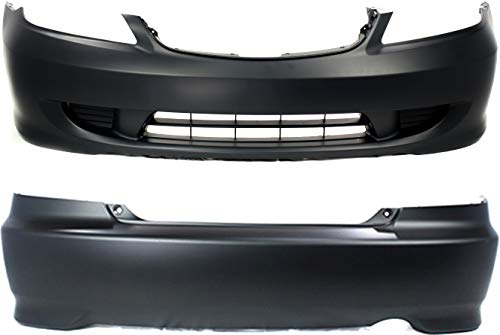 Bumper Cover Compatible with HONDA Civic 2004-2005 Front and Rear Set of 2 Primed Coupe