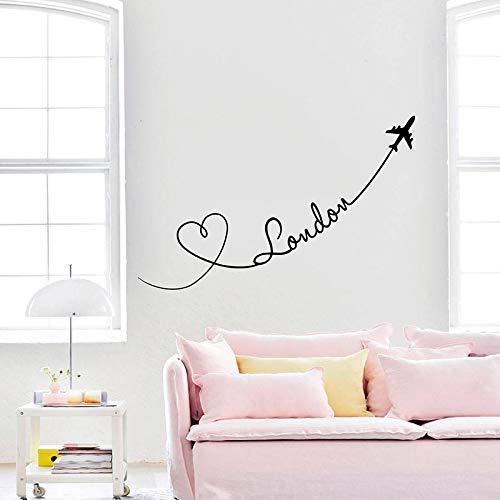 YSNMM London Muursticker Vliegtuigen Harten Liefde Reizen Vinyl Stickers Huisdecoratie Woonkamer Decoratie muurschildering Vinyl Slaapkamer13X57Cm