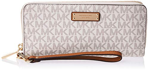 "Signature MK print coated twill with gold-tone hardware Measures 8.25""W X 4""L X 1""D Interior: 3 Open Compartments, Zip Compartment, 2 Slit Pockets, Window Pocket Removable wristlet strap Zip around closure; Lining: 100% Polyester"
