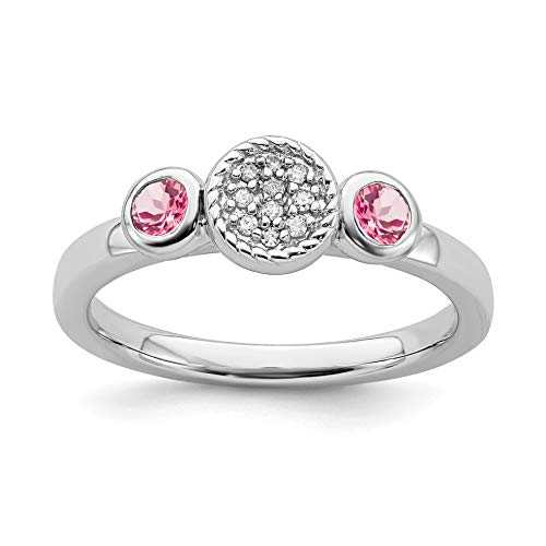 0.28ct 925 Sterling Silver Rhodium Plated Stackable Db Rd. Pink Tourmaline & Diamond Ring (0.28 Ct Pink Diamond)