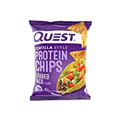 19g of Protein and 4g of Net Carbs Baked - never fried; Made with high-quality Whey and Milk Protein Isolates No added soy ingredients Gluten Free Includes 12 bags of Quest Tortilla Styled Loaded Taco Protein Chips