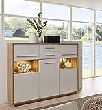 trendteam smart living Wohnzimmer Highboard Schrank Kuba, 150 x 123 x 39 cm in Korpus Alteiche Dekor, Front Weiß Glanz mit zwei Schubkästen und viel Stauraum