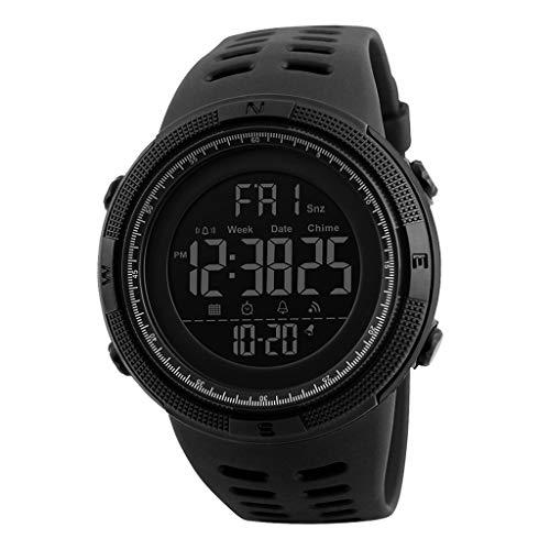 Reloj digital #N/A para hombre, resistente al agua hasta 50 m, reloj de muñeca electrónico, con cronómetro, zona de tiempo dual, color negro