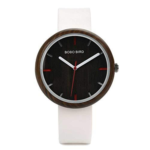 Bobo Bird Damen-Armbanduhr, 41 mm, einfache Holz-Uhren, analoge Quarz-Armbanduhr mit Silikon-Armband, sportliche Freizeit-Uhren mit Holz-Geschenkbox weiß