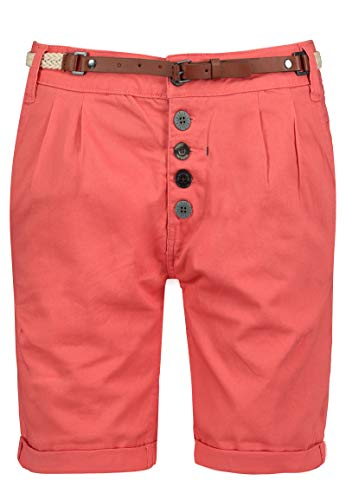 Sublevel Damen Chino Bermuda Shorts mit Knopfleiste Light-red L