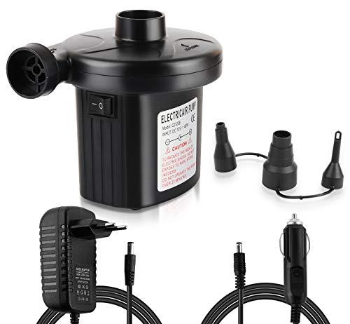 ilauke Pompe à air électrique 12V Dc, 230V ac Pompe de gonflage et dégonflage avec 3 adaptateurs pour Camping, extérieur, Prise Allume-cigares 12 V ou Prise Euro 230 V (Noir CA/CC)