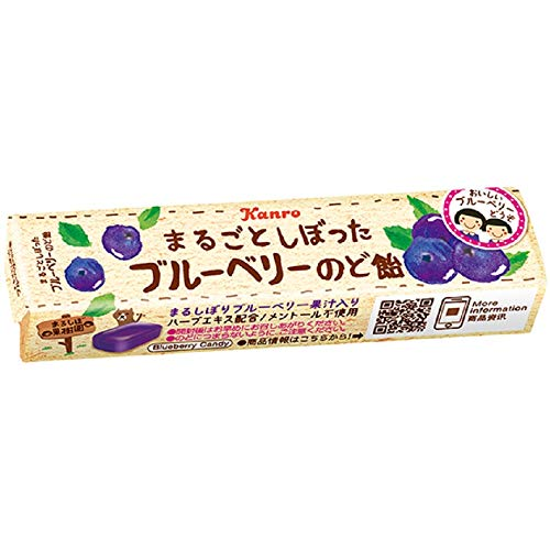 カンロ まるごとしぼったブルーベリーのど飴 11粒 ×10個
