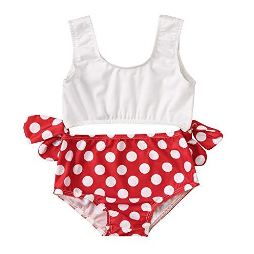 Sunnymi - Bañador de bikini con estampado de lunares para niños de 0 a 4 años rojo rojo Talla:12-18 meses