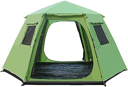 LZP-PP 5-8 Person Hexagonal Automatic Camping Tent - Telescopic Aluminum Rod Double Layer Tents Sun Shelter Waterproof for Outdoor Sports Hiking Travel Rainfly (Color : Green)